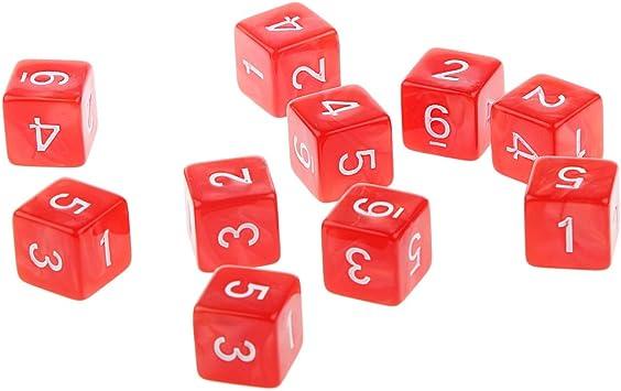 Hellery Juegos de Mesa Dados de Seis Caras D & D TRPG - 10 Pedazos - Rojo: Amazon.es: Juguetes y juegos
