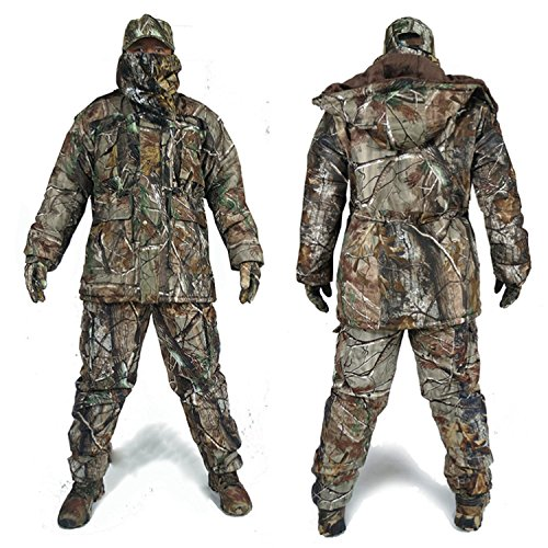 DaMaiZhang Men Women Winter Camo Hunting Suits Cotton Hunting Hoodies Jacket Camo uflage Trousers Waterproof For Unisex (L) from DaMaiZhang