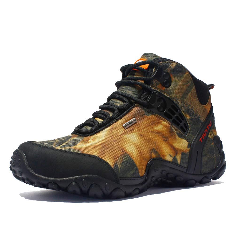 WKNBEU Al Aire Libre Adultos Hombres Excursionismo Zapatos Trekking High Rise Antideslizante Respirable Sneaker para Caminar con Cordones Zapatos Amarillo Gris,A-EU43=UK9=Labelsize44 EU43=UK9=Labelsize44|A
