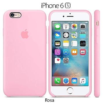 Funda Silicona para iPhone 6 y 6s Silicone Case, Textura Suave, Forro Microfibra (Rosa)