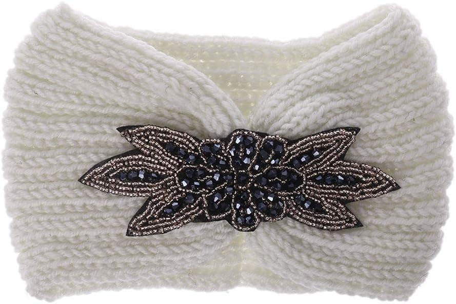 Marine Manyo 1pc Femmes Bandeau en paillettes Cache-oreilles large pour t/ête large Fleur strass perl/é