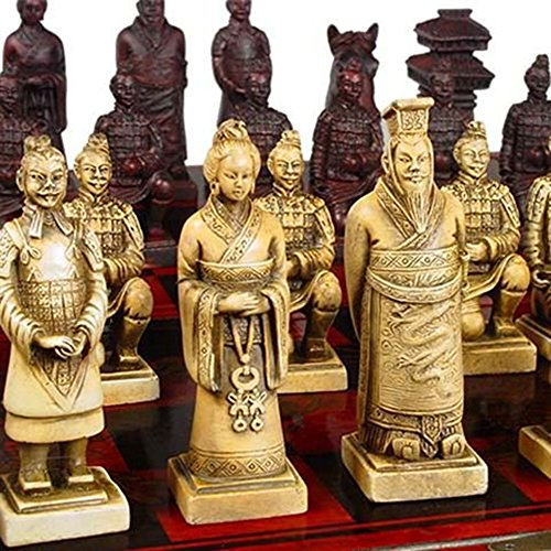 (LZWIN Art Antiques Collection Resin Carving 3D Chess Terra Cotta Warriors Special Gift Chinese Chess with Wooden Case)