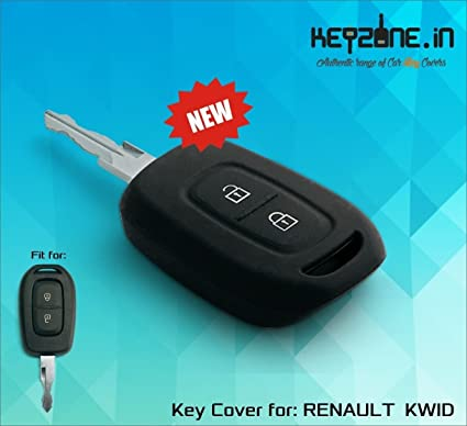 Keyzone Silicone Remote Key Cover 2 Button Black For Renault Kwid