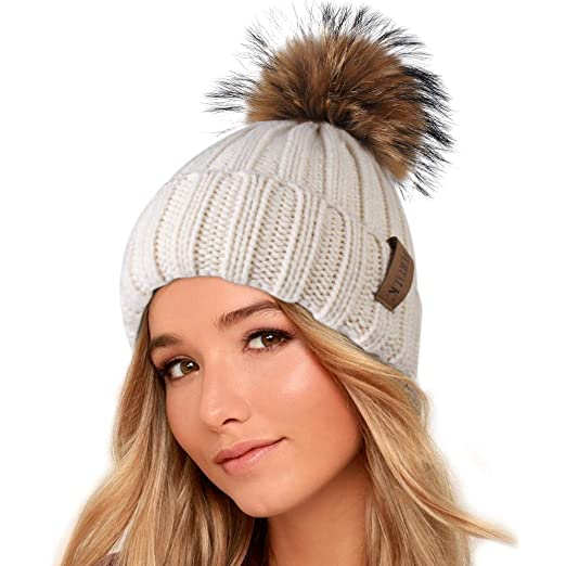 bdfc3722 FURTALK Winter Knit Hat Real Raccoon Fur Pom Pom Womens Girls Warm Knit  Beanie Hat