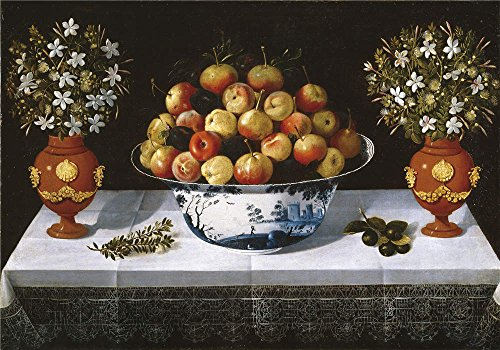 Oil Painting 'Hiepes Tomas Delft Fruit Bowl And Two Vases 1642', 10 (Beaded Pearl Fruit Bowl)