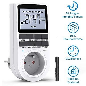 ANSMANN AES1 prise électrique avec minuterie / Le temps de fonctionnement peut êt Prise économe en énergie avec minuterie pour appareils ménagers machine à café ou à laver etc radiateur soufflant