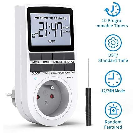 Magicfun Zeitschaltuhr Steckdose Digitale Elektrische Zeitschaltuhr mit 10 Konfigurierbaren Programmen Timer f/ür Steckdose
