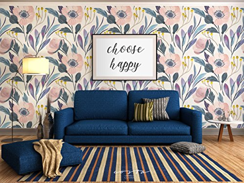 Temporary Self Adhesive Wallpaper SAMPLE with watercolor floral pattern on paper texture, great for Bedroom & Living Room wall decor, Peel and stick application CC005 (6'' x (Floral Wallpaper Patterns)