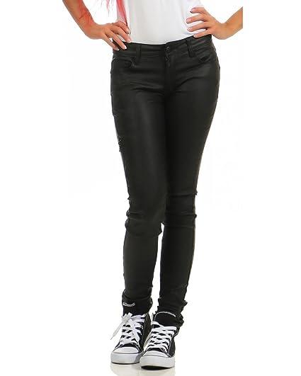 34b03b8d99f8 ZARMEXX Damen Stretchhose in Lederoptik mit Zipper Wet-Look Skinny Hüfthose  Lederimitat (schwarz1,