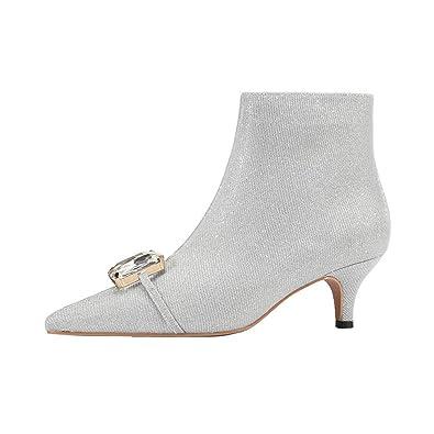 49fdea2f2cf JITIAN Femmes Chaussures Talons Aiguilles Boots Strass Glitter Soirée Bottes  Kitten-Heels Bottines Argent 34