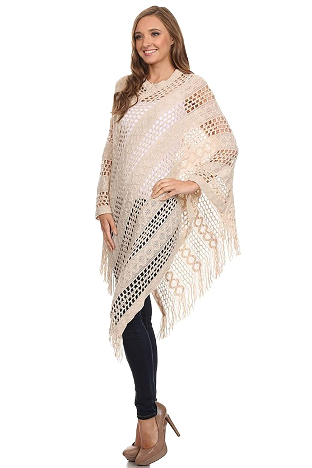 VINA VINO Women's Knitted Sweater Tunic Cover Up Poncho Blouse