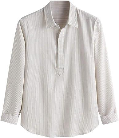 Hotcl_Clearance Men Top Camisa de Manga Larga de algodón y ...