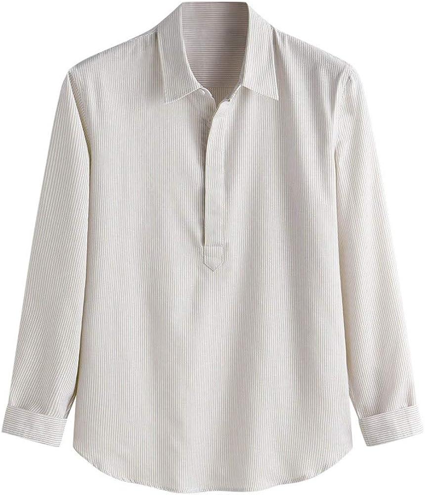Camiseta para Hombre, Verano Algodón y Lino Manga Larga Color Sólido Moda Casual Suelto T-Shirt Blusas Camisas Solapa Suave Básica Arriba Top Raya Comodo Chaqueta: Amazon.es: Ropa y accesorios