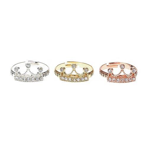 Claires - Pack de 3 anillos de corona para niña en color dorado