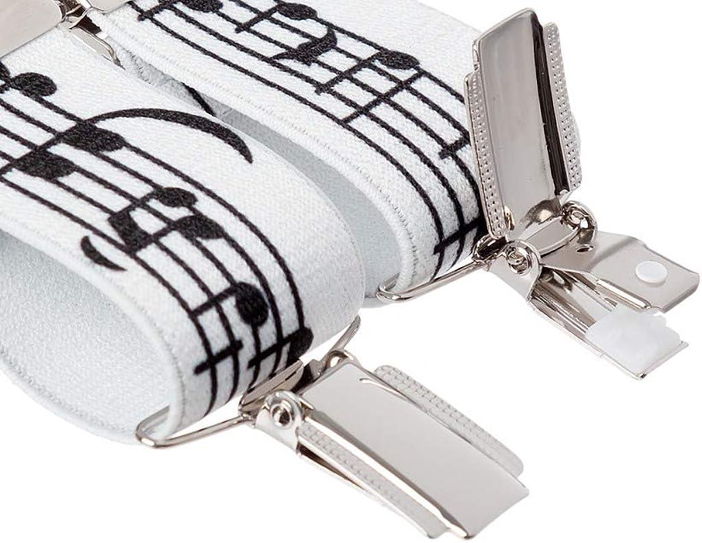 Notas de la música del Pantalón Tirantes Tirantes Blanco para Hombre Fuerte Clips XL Extra Larga