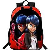 KINOMOTO Lady Bug Backpack 16Inch Girls Marinette Cosplay School Shoulder Bag Daypack (Marinette 3)
