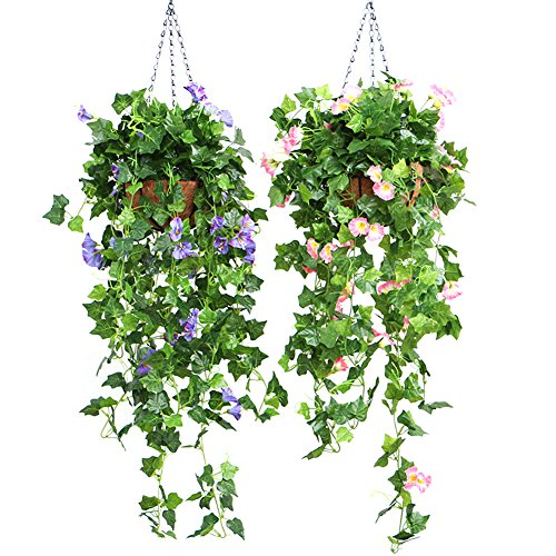 DaJun Artificial Vines, 2 Pcs Morning Glory Simulation Hanging Plants 35.43in with Baskets, Silk Garland Planter Bonsai For Outdoor Indoor Wedding Party Garden Wall Decoration