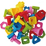 Jumbo Nuts and Bolts Set with Tote 40 Pcs - Occupational Therapy - Matching Fine Motor Toy for Toddlers Preschoolers