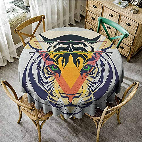 Mo Blue Tigers - Grid round table cloth 43