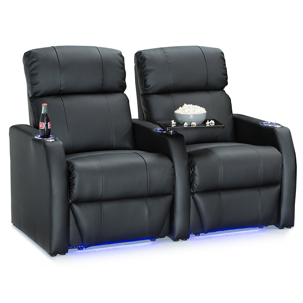 Seatcraft Sienna Black Bonded Leather Home Theater Seating - Row of 2 Seats - Manual Recline by Seatcraft