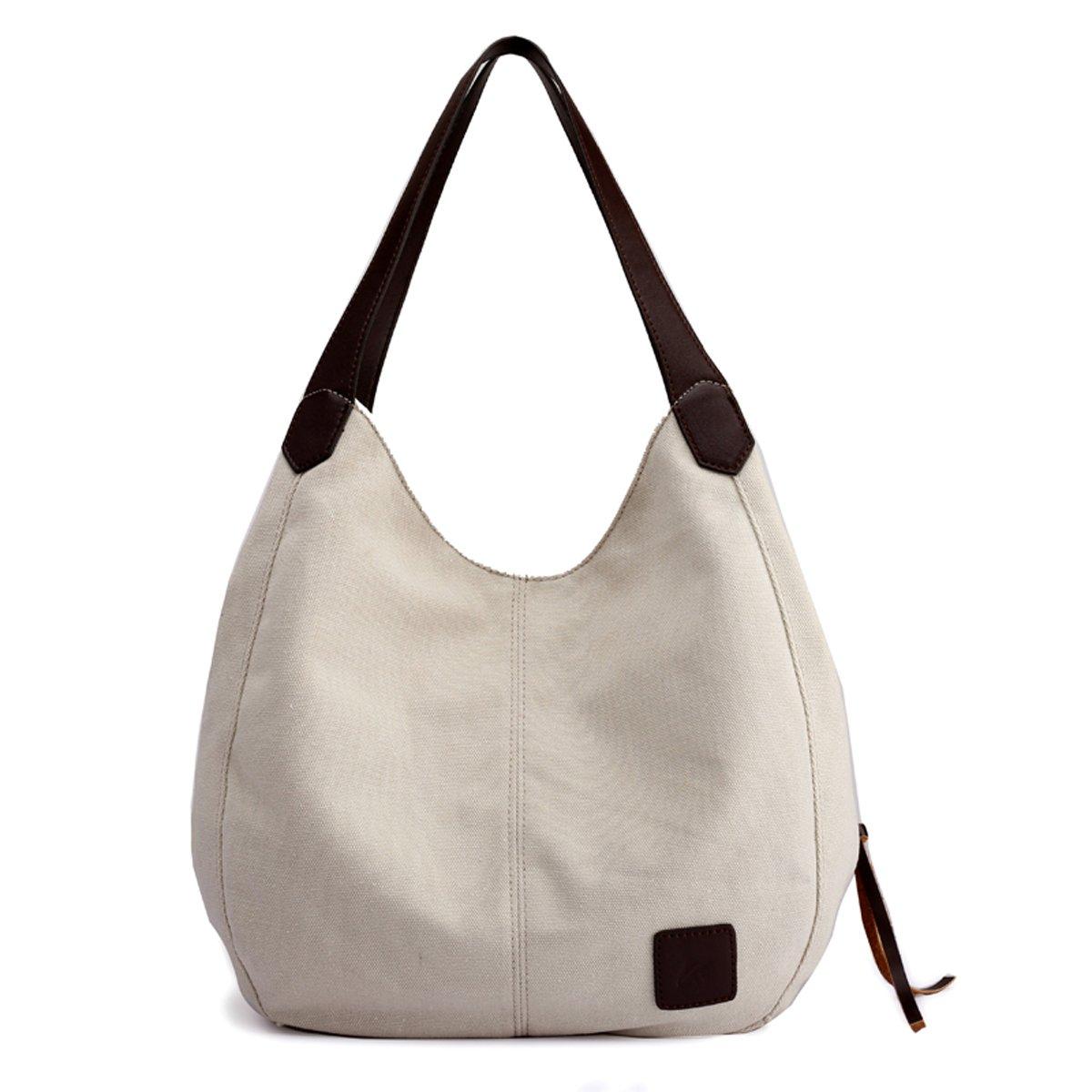 8ff6eead6e Amazon.com  Hiigoo Fashion Women s Multi-pocket Cotton Canvas Handbags  Shoulder Bags Totes Purses (Beige)  Shoes