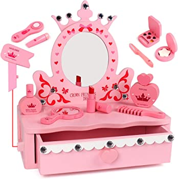 Tomons Wooden Pretend Play Kids Vanity Table with Big Mirror