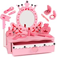 Tomons Wooden Pretend Play Kids Vanity Table, Beautiful Vanity Salon Activity Playset with Big Mirror and Makeup…