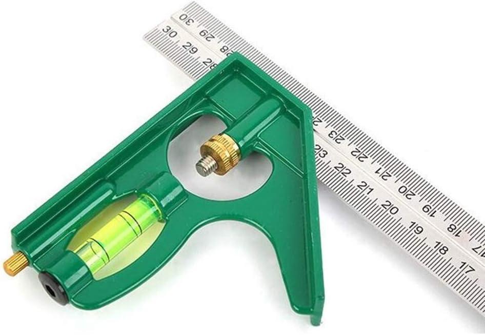 Size : A Outil de Mesure de la Combinaison dangle r/ègle 300MM en Acier Inoxydable /à 180 degr/és Fonction du Bois carr/é avec Niveau /éb/éniste
