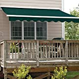 ALEKO Retractable Patio Awning 10ft x 8ft (3m x 2.5m) Solid Green Color