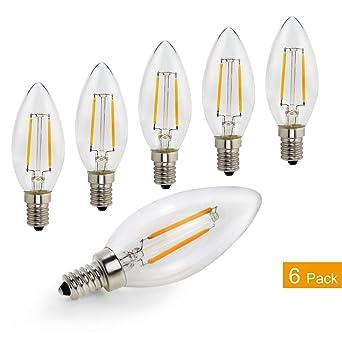 C35 E14 LED bombillas de filamento 2 W 20 W bombillas incandescentes equivalente LED vela bombilla