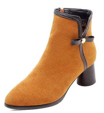 Talon Easemax Femme Elégant Low Pointu Chunky Boots Bout sohBrdtQCx
