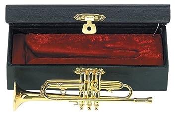 GEWA 980590 - Instrumentos en miniatura, trompeta con estuche, 15 cm