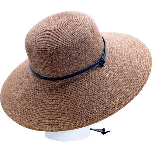 42f323607c9 Amazon.com  Sloggers Women s Wide Brim Braided Sun Hat with Wind Lanyard -  Dark Brown - UPF 50+ Maximum Sun Protection