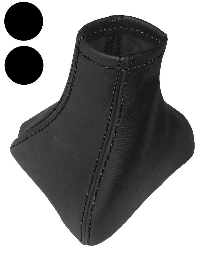 Aerzetix Gear Shift Lever Gaiter Cover Collar made of 100/% Genuine Black Leather with Black Stitching
