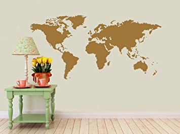 Amazoncom Detailed World Map Wall Decal Gold Metallic - Wall decals map
