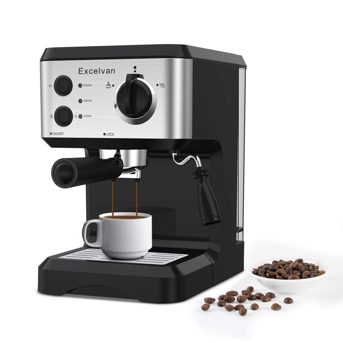 Caffettiera Excevan Macchina per Caffe Espresso e Cappuccino Latte Pompa Italiana 15 bar con imbuto metallico amovibile 1.25L, Nero Excelvan