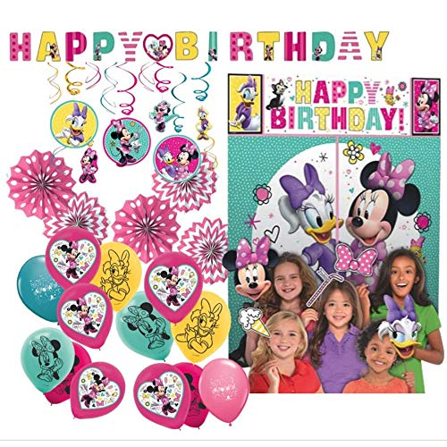 Party Decoration Supply Pack for Minnie Mouse Themed Party with Add-Am-Age Banner, Photo Backdrop with Props, Foil Swirl Decorations, Paper Fans & Balloons