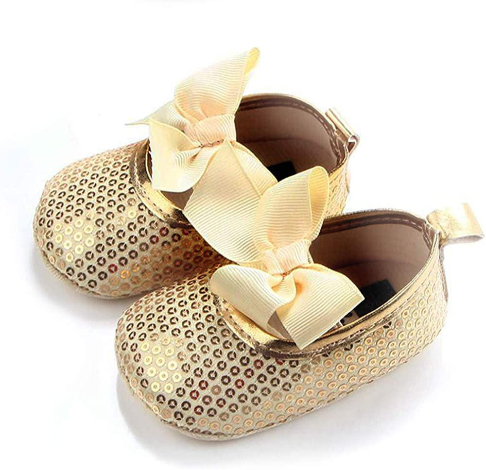 Babelvit Infant Baby Girls Mary Jane Flats Canvas Sparkly Princess Dress Bowknot Baptism Crib First Walkers Shoes
