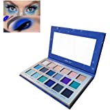 18 Colors Eyeshadow Makeup Palette, YMH BEAUTE Shimmer Matte Eyeshadow Palette Pigmented Blue Eye Shadows Long Lasting Waterp
