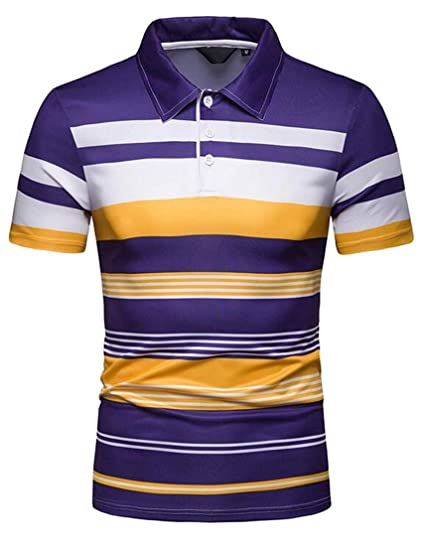 3e04d62d571 KLJR Men Short Sleeve Sport Striped Slim Plus Size Golf Polo Shirt at  Amazon Men s Clothing store