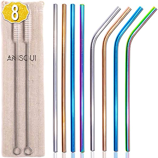 Stainless Steel Colourful Drinking Straw Metal Reusable Eco Friendly Clean Brush