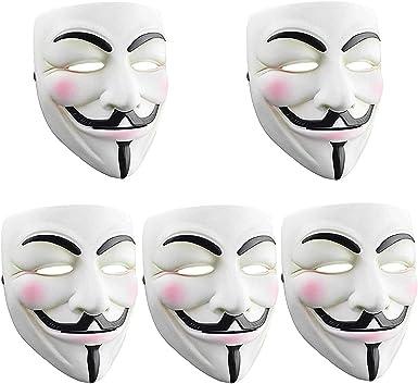 Amazon Com Sn Riggor 5 Paquetes V Para Vendetta Anonymous Resina Fancy Cool Disfraz Cosplay Mascara Hacker Mascara Para Traje Ninos Blanco Anonimo Mascaras Para Halloween Fiesta Diy Juguete Head Mask Clothing