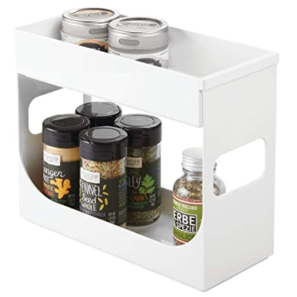 Mdesign Plastic Spice And Food Kitchen Cabinet Storage Organizer 2 Tier Caddy Rack With Removable Top Tray Compact And Portable For Pantry