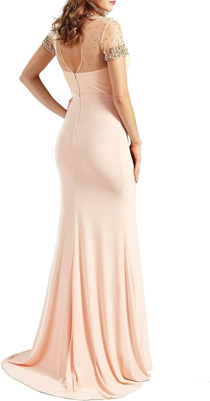 MACloth Women O Neck Beading Long Elegant Wedding Party Dresses Evening Gown Fuchsia