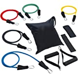 Wonvatu Resistance Bands Set, 12Pcs Exercise Bands, Workout Bands with Ankle Strap, Carrying Case, Door Anchor, Foam Handle for Exercise Fitness Pilates Strength Training
