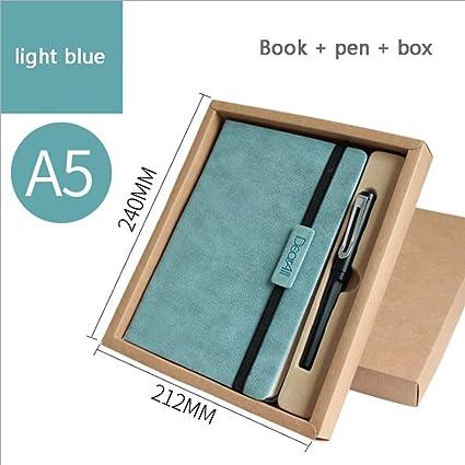 Cuaderno de tapa dura de piel tamaño A5 para viajes de negocios, para papelería escolar, tapa dura, color azul claro A pack: Amazon.es: Oficina y papelería