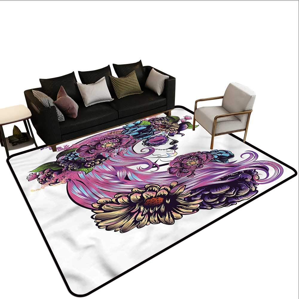 "B07SHDSJ2T Gothic,Office Chair Floor Mat Foot Pad 48""x 72"" Day of The Dead Sugar Skull Throw Rugs 61tCsbhlM1L"