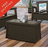 Patio Storage Trunk Coffee Table Deck Box With Lids In Brown Wicker Modern Furniture Multifuncal Container Poolside Cushion Toy Storing Bistro Garden Outside Backyard Dining And eBook By NAKSHOP