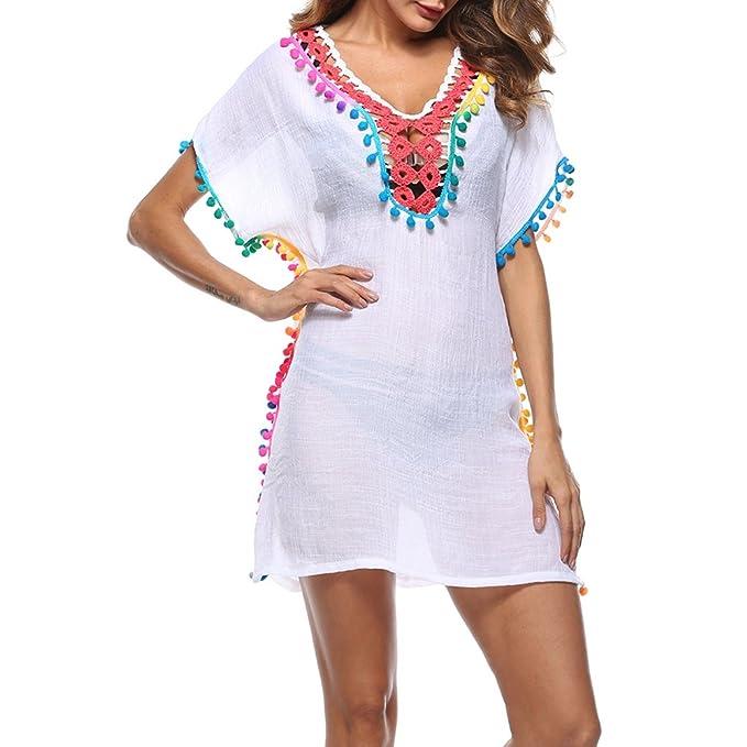 iBaste Bikini Blusas Mujer Verano Cover-up Perspectiva Crochet Hollow Vestidos Bolas de Colores Beach