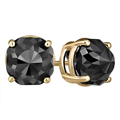 c8be1f928 Image Unavailable. Image not available for. Color: Black Diamond Stud  Earrings 14k Yellow Gold 2 ct total Weight